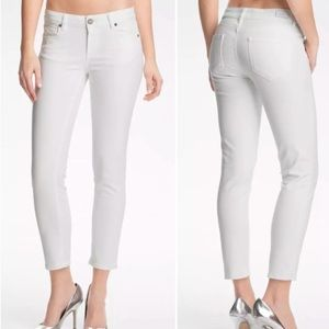 Paige Kylie crop optic white cuffed ankle jeans